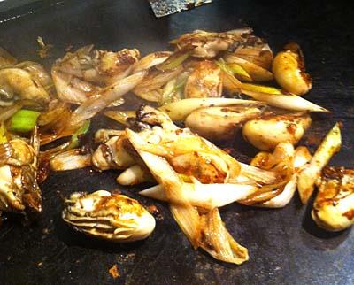 牡蠣とネギの醤油焼き